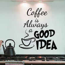Coffee Is Always Good Idea Cup Wall Sticker Vinyl Home Decor Kitchen Cafe Restaurant Decals Interior Design Window Murals 3674