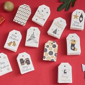 Image 5 - Etiquetas de papel de Navidad blancas, notas de boda, etiqueta colgante, cuerda de tarjeta de Feliz Navidad Regalo, 100x6,8 cm, 4,5 unidades/lote