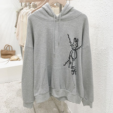 Mooirue Vintage Funny Printed Sweatshirt Women Drawstring Plus Size Hooded Casual Streetwear Harajuku  Kawaii Hooded Pullovers drop shoulder ripped drawstring hooded sweatshirt
