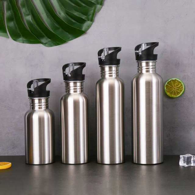 Stainless Steel Sports Water Bottle with Drinking Straw lids Cap Vacuum Flask Single Wall Hot Cold Water Bottle 500/750/1000ml 1