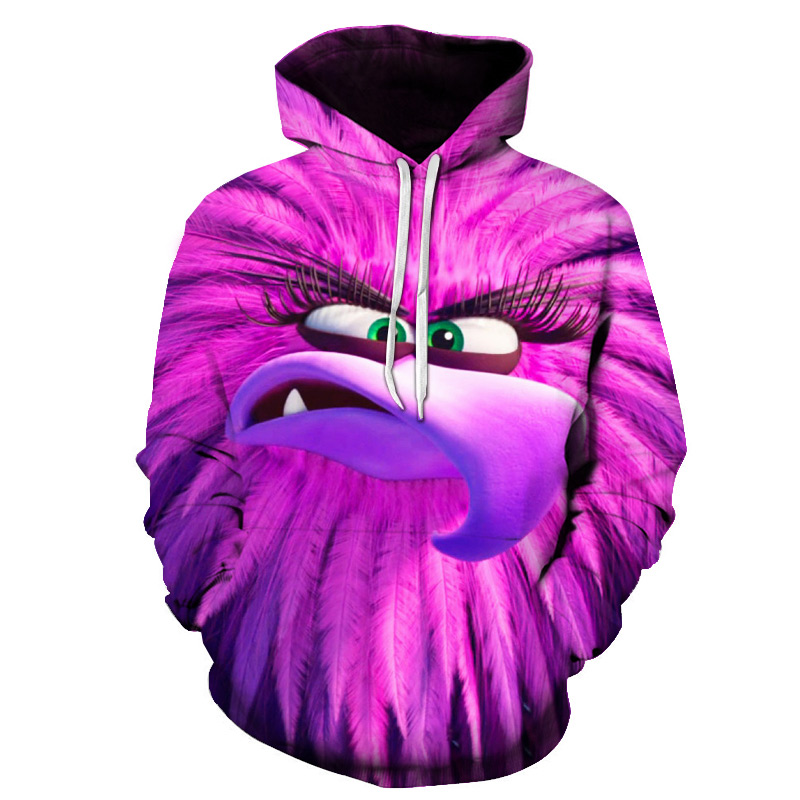 3D Printed The Angry Birds Movie 2Hooded Sweatshirts Hot Sale RED KIDS Casual Hoodies Full- Sleeved Girls Casual Outwear Hoodies