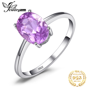 JewelryPalace Genuine Amethyst Ring Solitaire 925 Sterling Silver Rings for Women Engagement Ring Silver 925 Gemstones Jewelry(China)