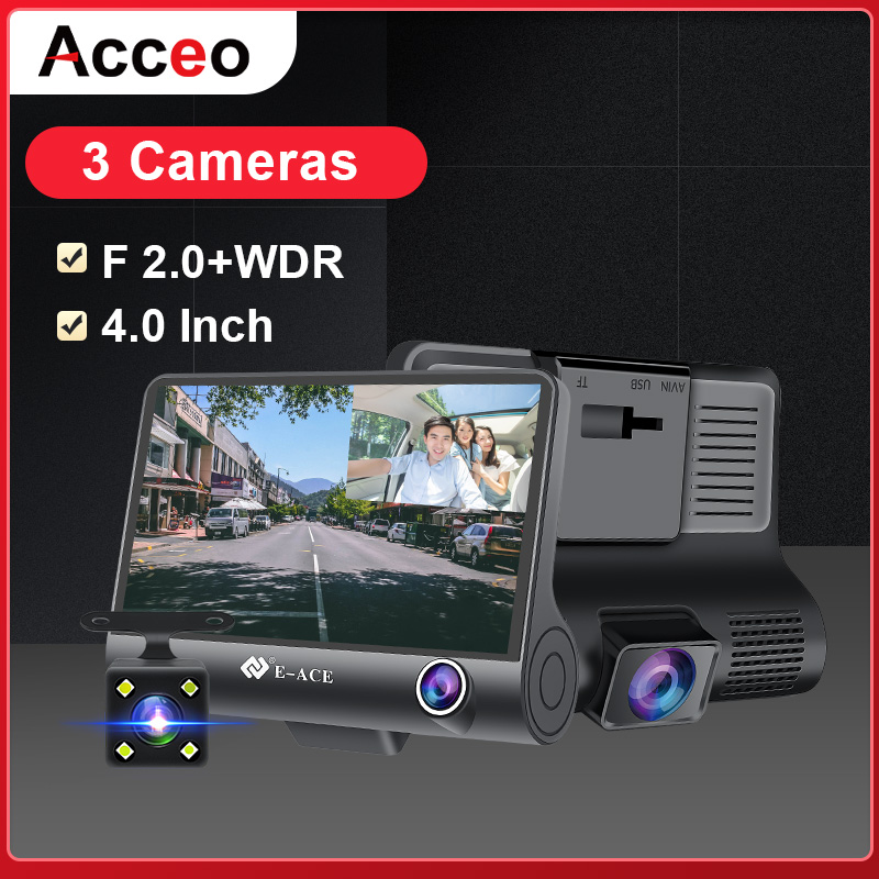 ACCEO Mini Car Dvr 4.0 Inch Dashcam 1080P FHD Video Recorder 3 Camera Lens Dash Camera With Rear View Camera Registrator DVRs