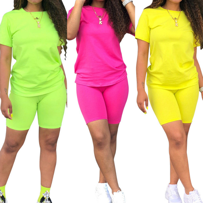Drop Shipping Plus Size Women Two Piece Short Set 2 Piece Neon Clothing Short Sets Top And Short Outfits Tracksuit Biker Suits
