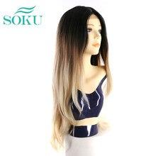 SOKU Ombre sintética marrón parte de encaje pelucas para mujeres negras medio lado largo pelucas de pelo Natural ondas encaje pelucas resistente al calor