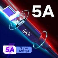 Magnetica di Ricarica USB Cavi USB Tipo C Super Veloce 5A Per Huawei p20 lite Compagno 30 20 Pro Honor 10 v20 V30 del telefono in auto SIKAI