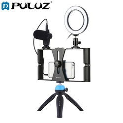 Puluz 4 In 1 Vlogging Live Broadcast Smartphone Video Rig +4.6 Inch Ring Led Video Light & Microphone+Tripod Mount+Tripod Head