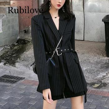Rubilove Stripe Women Long Blazers Jacket Sleeve Loose Sashes Korean Fashion Casual Suit 2019 New Spring Clothes