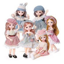 12 Inch 31cm Bjd Doll 23 Movable Joints 1/6 Makeup Dress Up 3D Eyes Long Wig For Babys Girls Toys Fashion Birthday Gifts New