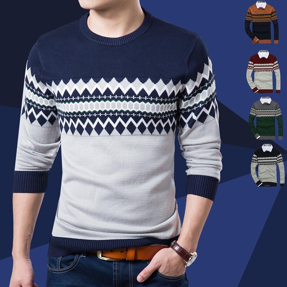 Men Casual Long Sleeve O Neck Geometric Print Slim Knitwear Bottoming Sweater