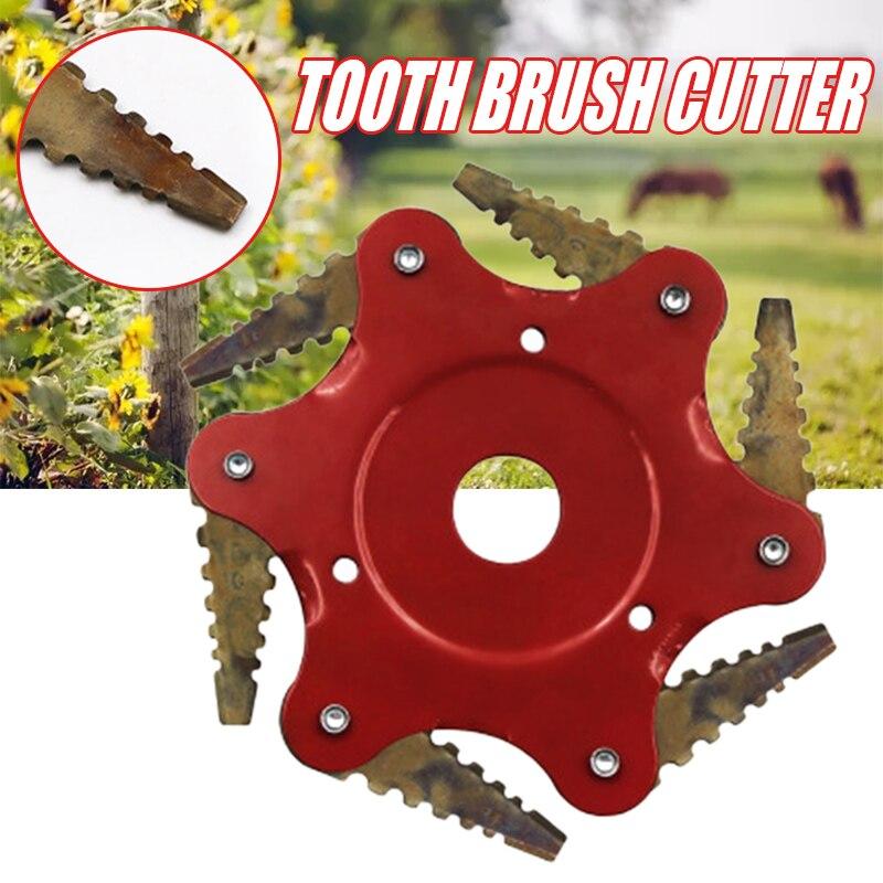 6 Teeth Grass Trimmer Head Brush Cutter Head Steel Strimmer Mower Blade Weeding  Lawn Machine Garden Tools Supplies Accessories
