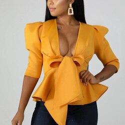 Women Scuba Bowtie Peplum Blouse Shirts Half Sleeve Sexy V Neck Tops Elegant Office Ladies Workwear Streetwear 2