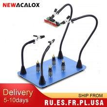 NEWACALOX outil de soudage troisième main, panneau de PCB magnétique Clip fixe loupe 3X bras Flexible outil de soudage