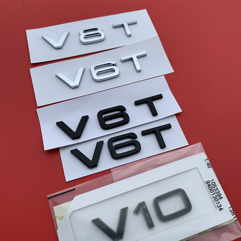 ABS Letter Number V6T V8T V10 Emblem for Audi A4L A5 A6L A7 A8L TT RS7 SQ5 Car Styling Fender Side Badge Discharge Logo Sticker