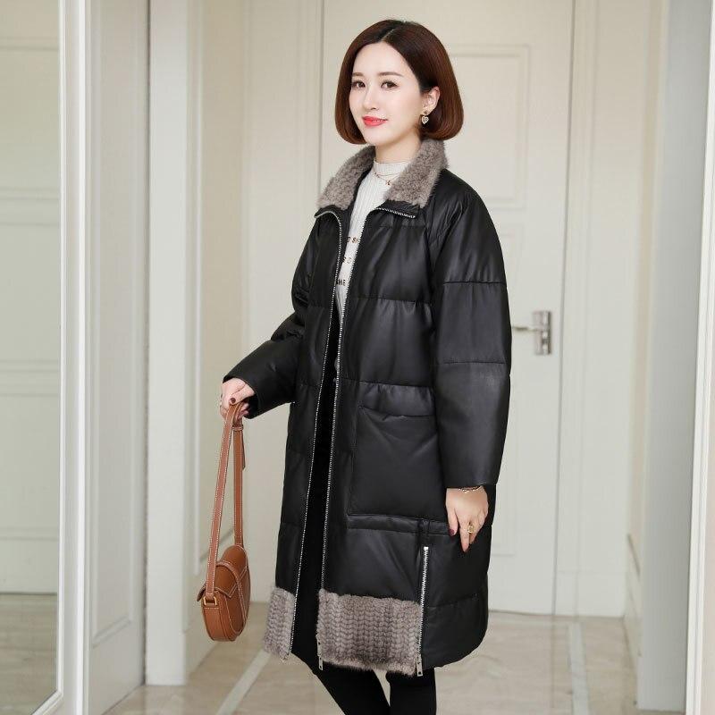 Real Fur Coat Genuine Leather Jacket Mink Fur Collar Autumn Winter Coat Women Clothes 2020 Korean Sheepskin Down Coat ZT4822