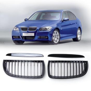 1Pair Left Right Gloss Black Front Kidney Grille Front Air Intake Grill Front Bumper Grill For BMW E90 05-08 Sedan 4-Door image