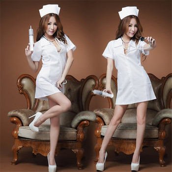 Nurse Lingerie Uniform Sexy Halloween Cosplay Erotic Perspective Costume White Dress for Sex