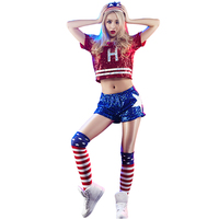 New Korean Fashion Costume Suits Cheerleader Sequins Dance Sets Crop Top + Elastic Shorts Slim Youth Vitality Women Stage Wear