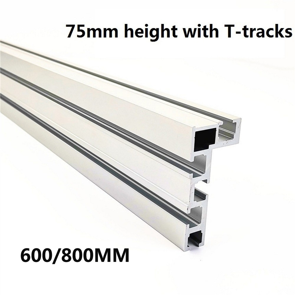 T-Track T-Slot Miter Track Stop Woodworking T-tracks Aluminum Table Saw Fence Workbench DIY Woodworking Tools 600/800MM 75 Type