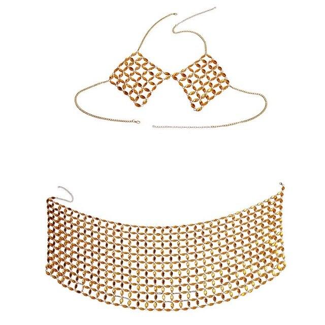 Cadena para Sujetador de bikini de cristal acrílico de color amarillo para mujer Sexy Cadena de pecho arnés de playa/fiesta/Club collar joyería de cuerpo