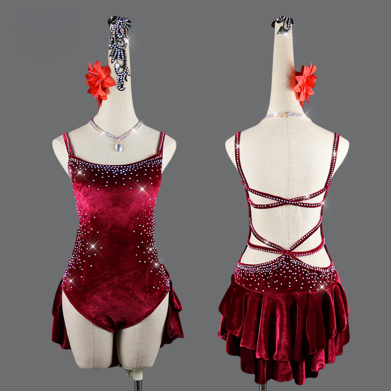 2019 robes de danse latine pour les femmes S-L lait soie dentelle Sexy Salsa frange jupe robe de soirée salle de bal concours vêtements