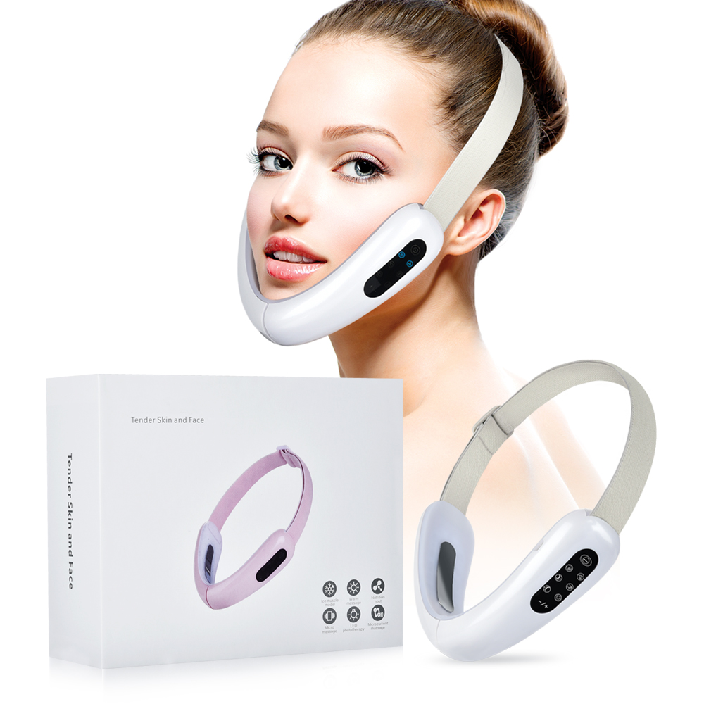 V-Line Up Lift Belt Machine Red Blue LED Photon Therapy Face Slimming Vibration Massager Facial Lifting Device