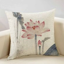 40x40/45x45/50x50/40x60cm Chinese ink painting Lotus linen pillowcase sofa cushion cover for pillow case lumabr pillow cover(China)