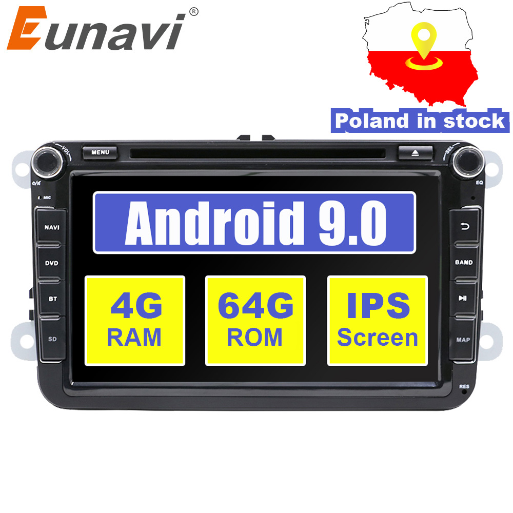 Eunavi 2 din Android 9 Auto DVD GPS für VW Passat CC Polo GOLF 5 6 Touran EOS T5 Sharan jetta Tiguan Radio stereo tda7851 IPS 8''