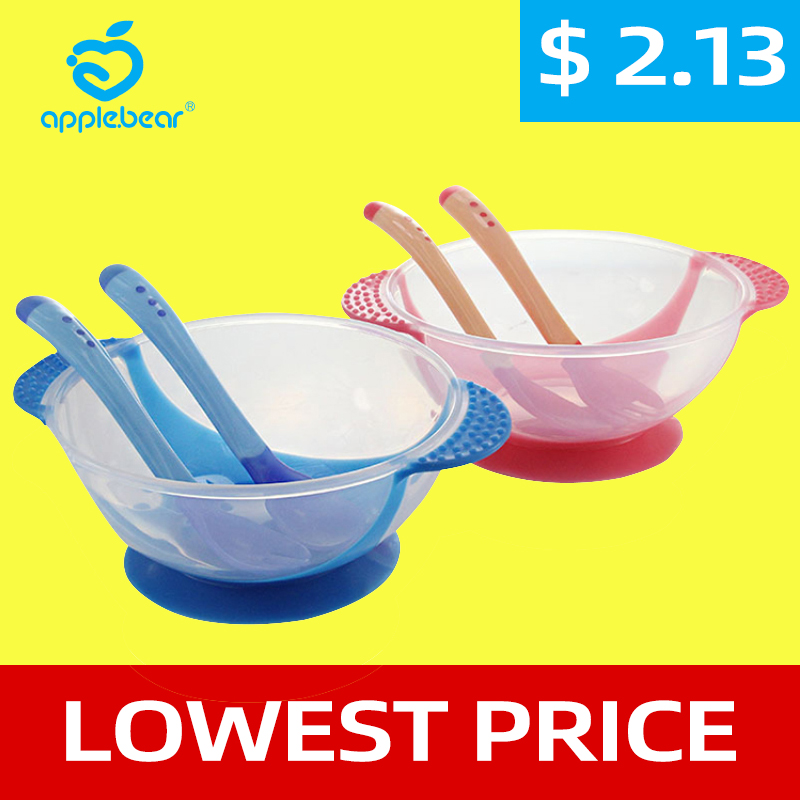 3Pcs Baby Learning Tableware With Suction Cup Kids Safety Dinnerware Set Assist Bowl Temperature Sensing Training Spoon Fork