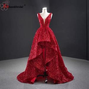 Image 1 - 두바이 럭셔리 이브닝 드레스 2020 민소매 딥 브이 섹시 스팽글 높은 낮은 비대칭 공식 파티 가운
