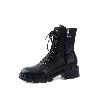 2019 Women Boots Genuine 100% Leather Ankle Martens Boots for Women Casual Dr. Motorcycle Shoes Warm Winter Couple Shoes