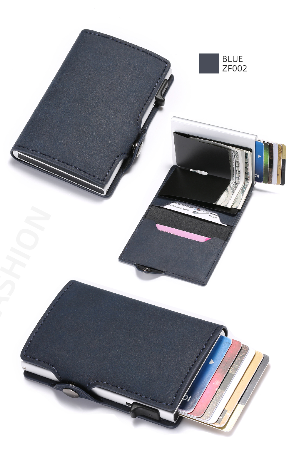 Hfd4169bf867745cea618d1e7988ce384R - BISI GORO Single Box Card Holder PU Leather Card Wallet New Men RFID Blocking Aluminum Smart Multifunction Slim Wallet Card Case