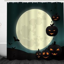 Newest Halloween Shower Curtain Scary Night Pumpkin Tree Castle Shower Curtains Waterproof Bathroom Fabric For Bathtub Art Decor