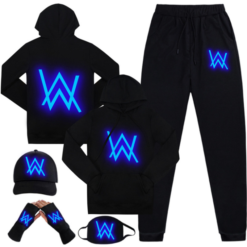 Alan Walker Hoodies Band Clothing Jackets Hat Mask Pants Set Adult Kids Suit Men Pullover Cotton Luminous Hoodie Clothes