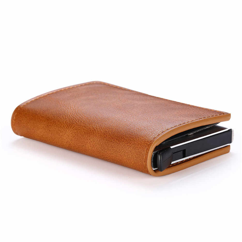 Bisi Goro Anti Rfid Credit Kaarthouder Case 2019 Mannen Slide Lederen Id Kaarthouder Bank Aluminium Metalen Portemonnee Credit kaart Tas