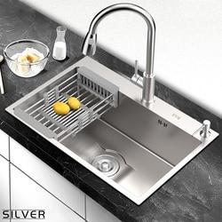 Kitchen sink silver plated, kitchen sink, silver nerving steel, sink with vegetable wash mount