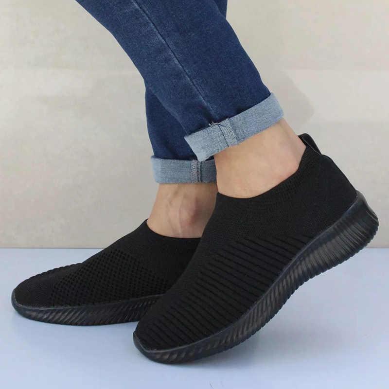 รองเท้าผู้หญิงถักถุงเท้ารองเท้าผ้าใบผู้หญิงฤดูใบไม้ผลิฤดูร้อนแบนรองเท้าผู้หญิงพลัสขนาดรองเท้า Loafers เดิน killen HARPER