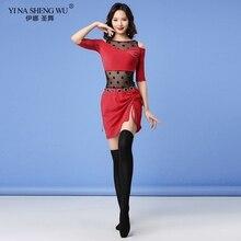 New Women Belly Dance Clothes Sexy Belly Dance Practice Costume Set Off Shoulder Short Dress Dots Mesh Dance Costumes 2Pcs set