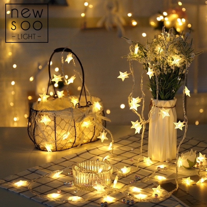 YINUO <font><b>LIGHT</b></font> 10/20/100 LED Star String <font><b>Lights</b></font> Fairy Garland <font><b>Lights</b></font> Led <font><b>Decoration</b></font> Christmas Tree Wedding <font><b>Home</b></font> Indoor <font><b>Decoration</b></font> image