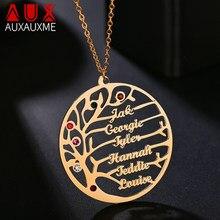 Auxauxme personalizado árvore da vida nome personalizado colar de aço inoxidável ouro árvore da família mulher carta colar presente de natal