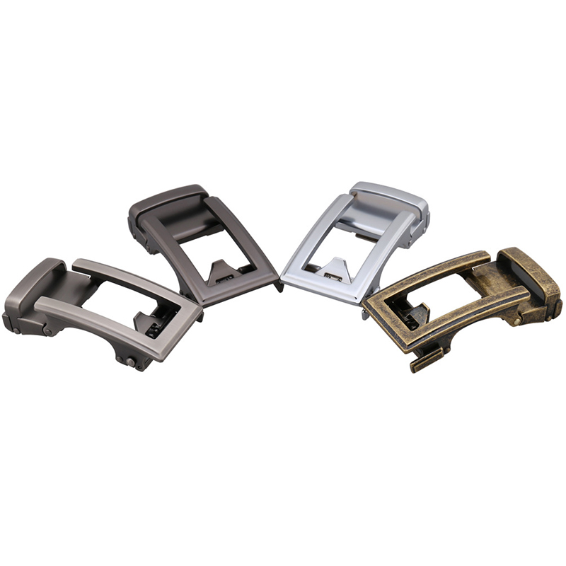 Genuine Men's Belt Head Belt Buckle Leisure Belt Head Business Accessories Automatic Buckle Width Men Waistbelt Black Silver