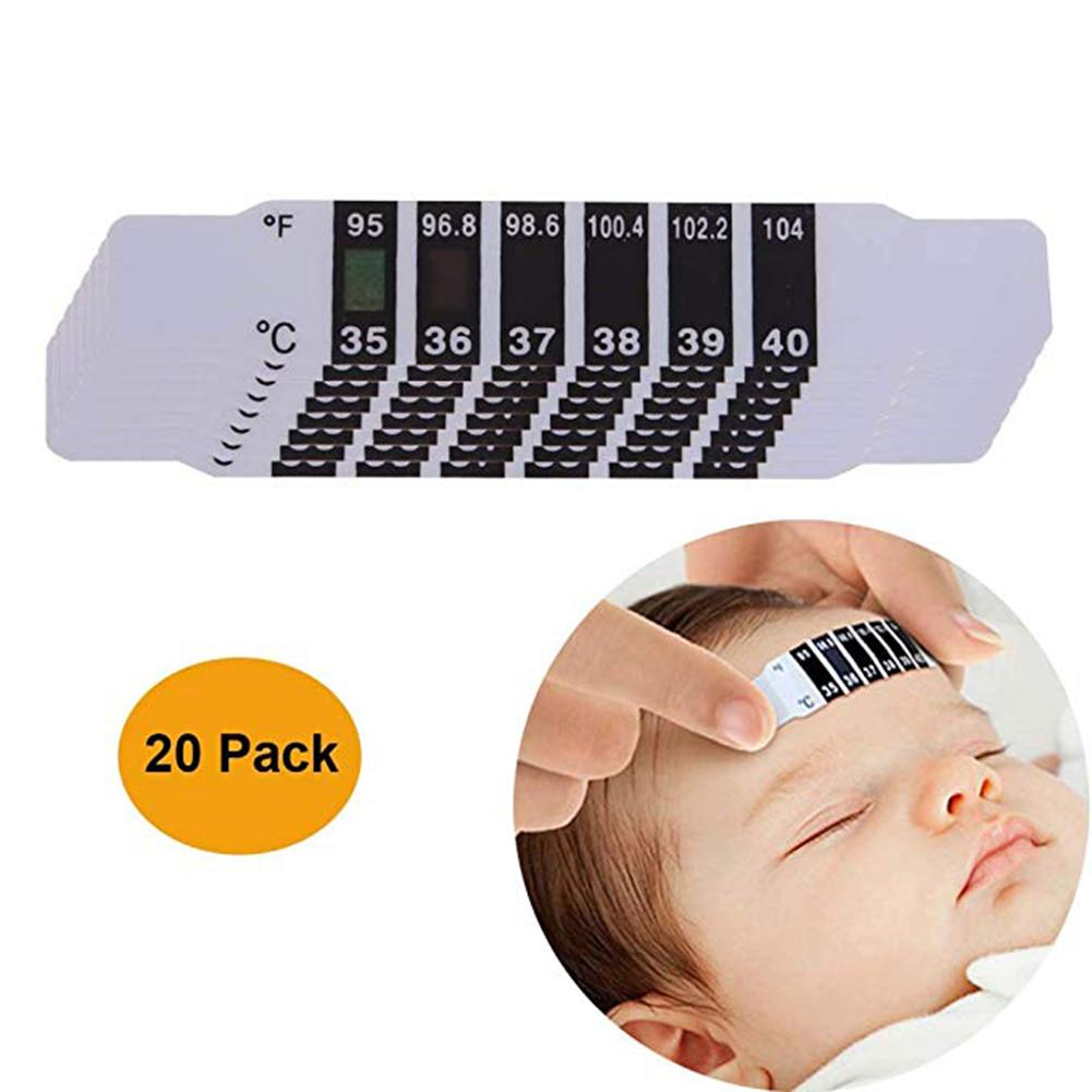 20pcs Creative Flexible Reusable Forehead Strip Thermometer Sticker For Baby Kid Fever Degree Care Health Temperature Test