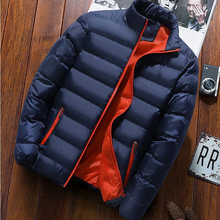 Men's New Warm Thick Jacket Men's Jacket Winter Casual Men's Jacket Coat Solid Color Stand Collar Men's Windproof Cotton Thick D