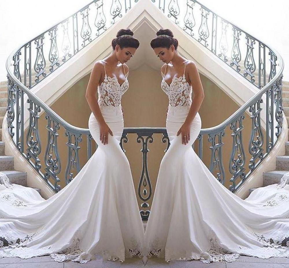 2020 Spaghetti Straps Lace Mermaid Beach Wedding Dresses Satin Lace Applique Sweep Train Boho Wedding Bridal Gowns