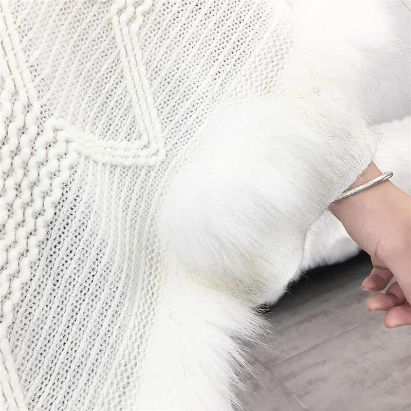 Yeni bahar kadınlar Faux kürk yarasa kollu pançolar ve pelerinler yuvarlak boyun kürk yaka örgü püskül haki kazak ve kazaklar Coat