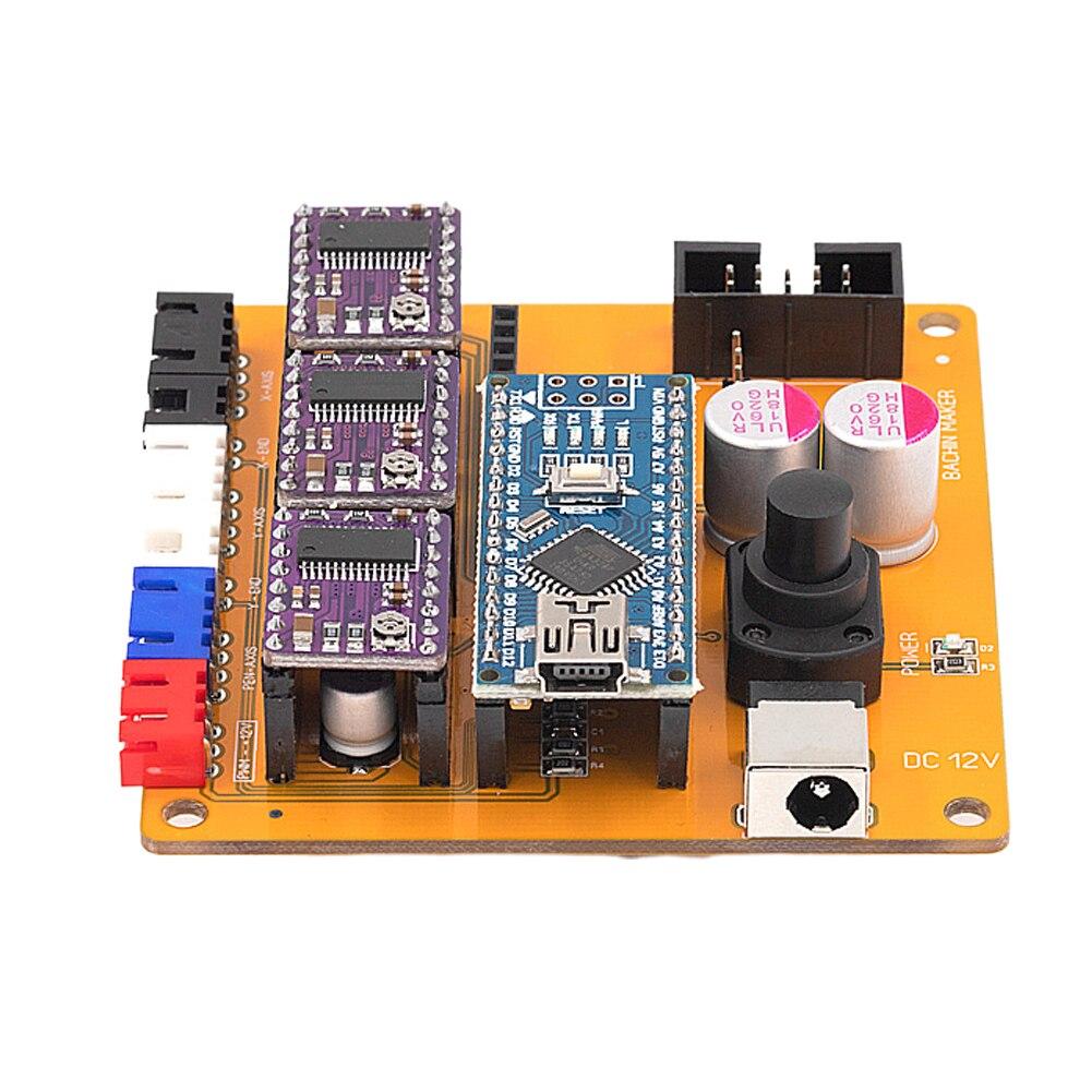 Офлайн 2 оси гравировальный станок Профессиональный ОСНОВНОЙ DIY прочный PCB панель стабильная плата управления NAN0 чип шаговый двигатель