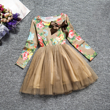 Children's Dress 2019 Korean Style Spring and Autumn Long-sleeved Round Neck Flower Print Casual Princess Dress with Bow-knot недорого