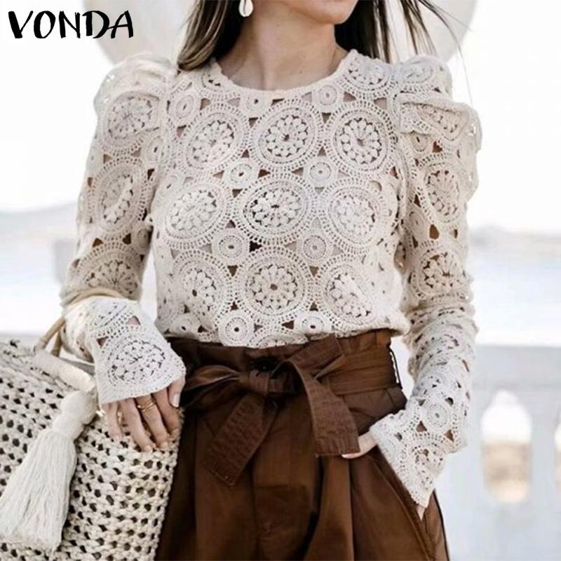 Women Shirts Woman Blouses And Tops 2019 Autumn VONDA Fashion Female Sexy Lace Blusas Ladies Office Tunic Tops Hollow Out Tunic