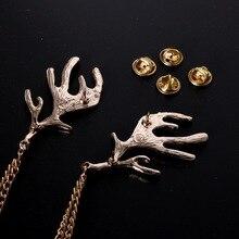 Fashion Deer Antlers Badge Animal Brooch Pins Gold Metal Chain Tassel Shirt Collar Needle Lapel Pin Women Men Christmas Jewelry недорого