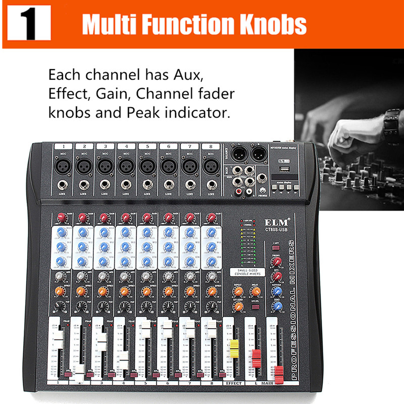 CT80S 8 Channel Live Studio 48V Phantom Audio Mixer Mixing Console For DJ KTV Karaoke